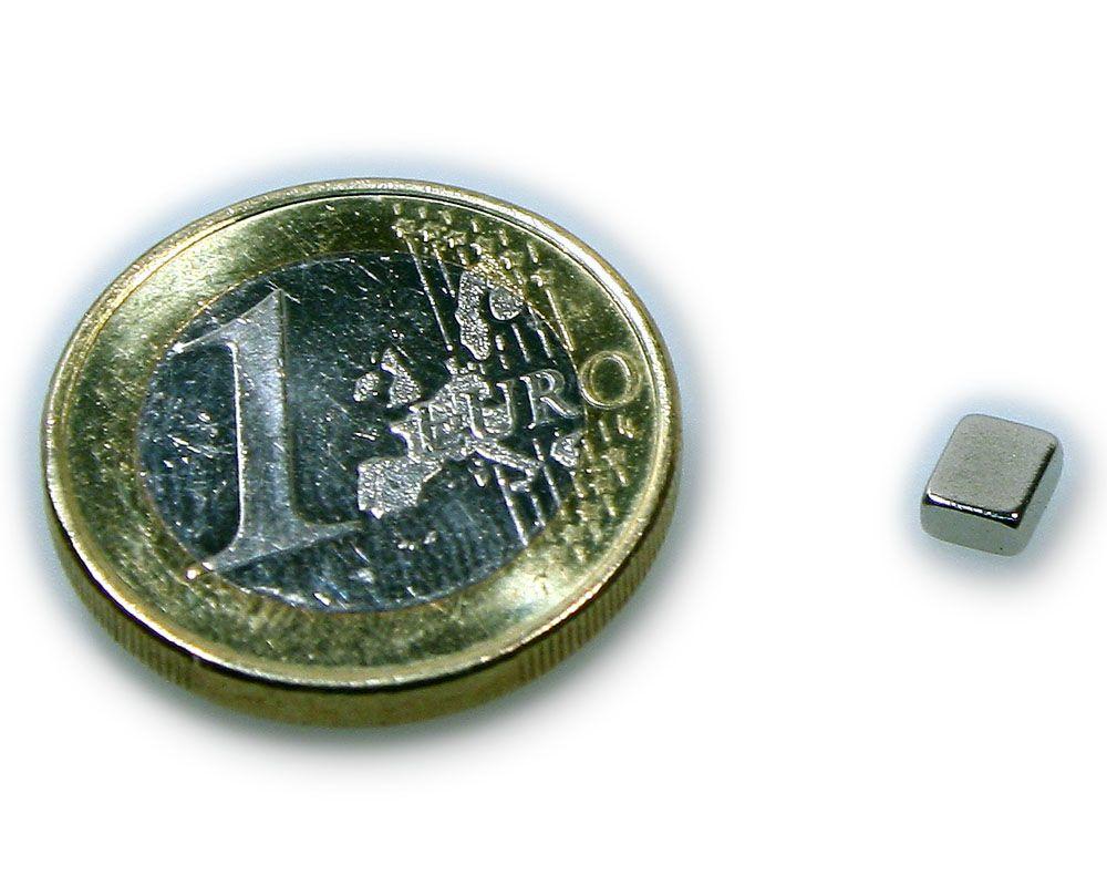 Quadermagnet 5,0 x 4,0 x 2,0 mm Neodym N45 vernickelt - hält 550 g