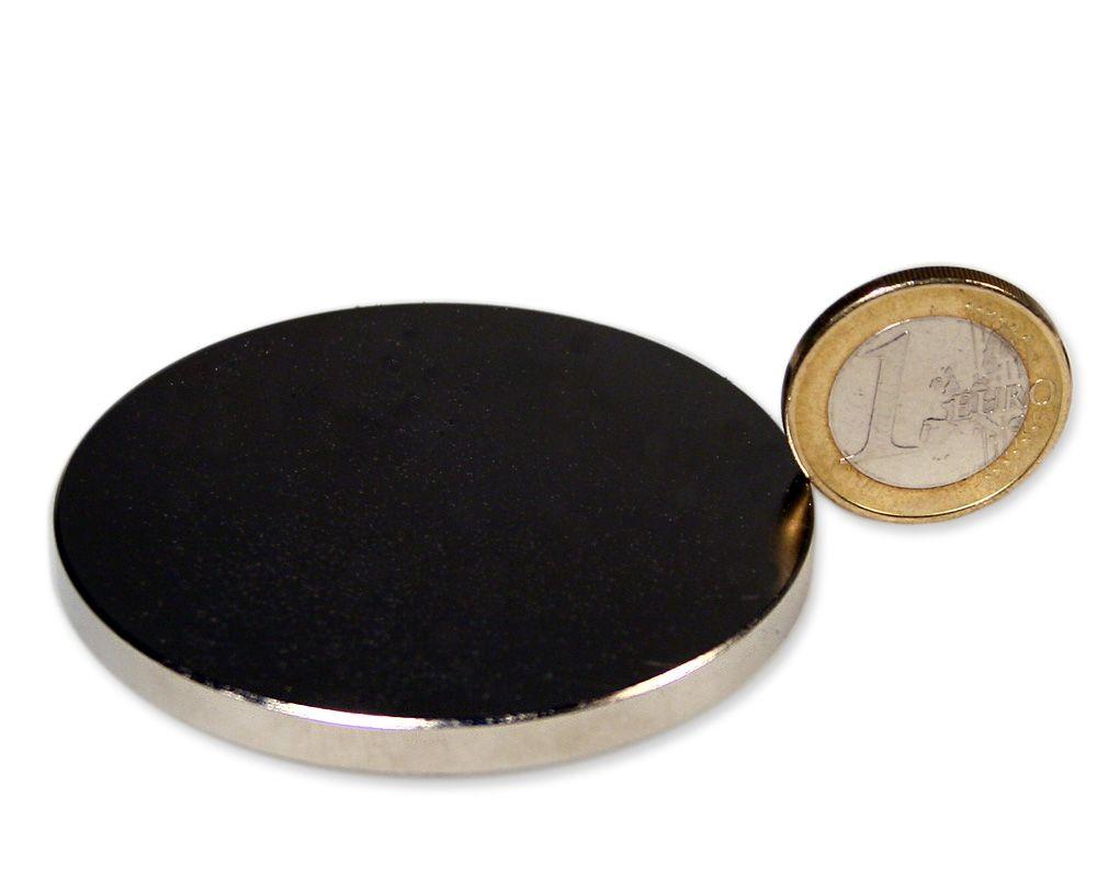Scheibenmagnet Ø 60,0 x 5,0 mm Neodym N52 vernickelt - hält 28 kg