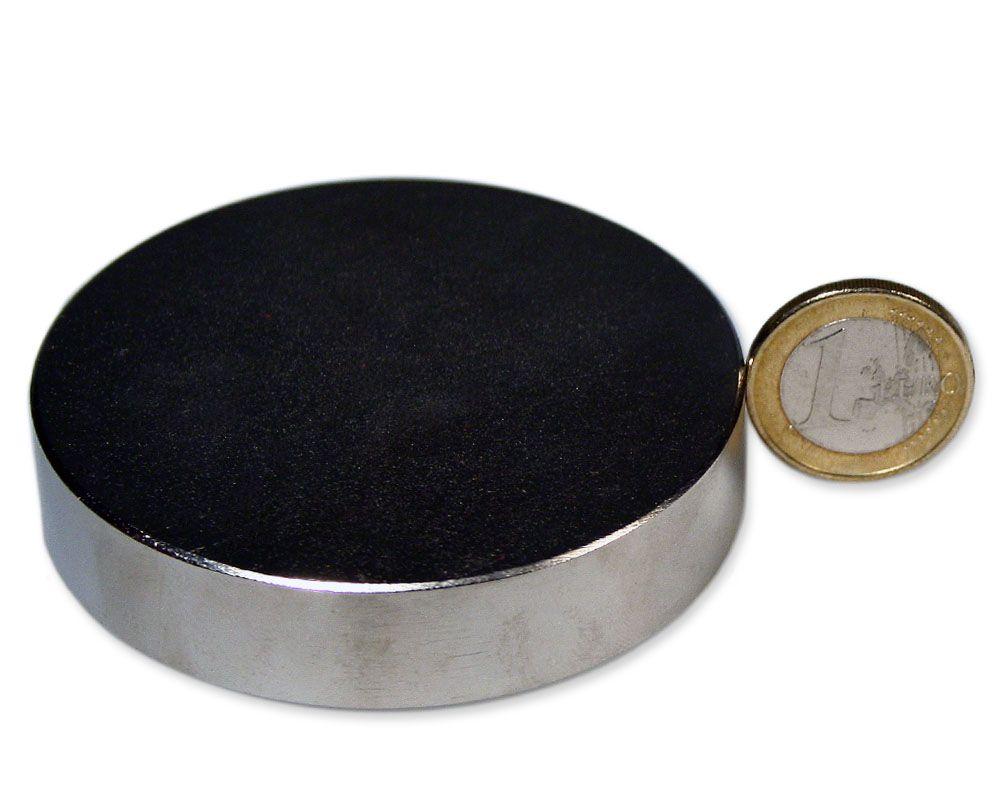 Scheibenmagnet Ø 70,0 x 15,0 mm Neodym N52 vernickelt - hält 108 kg