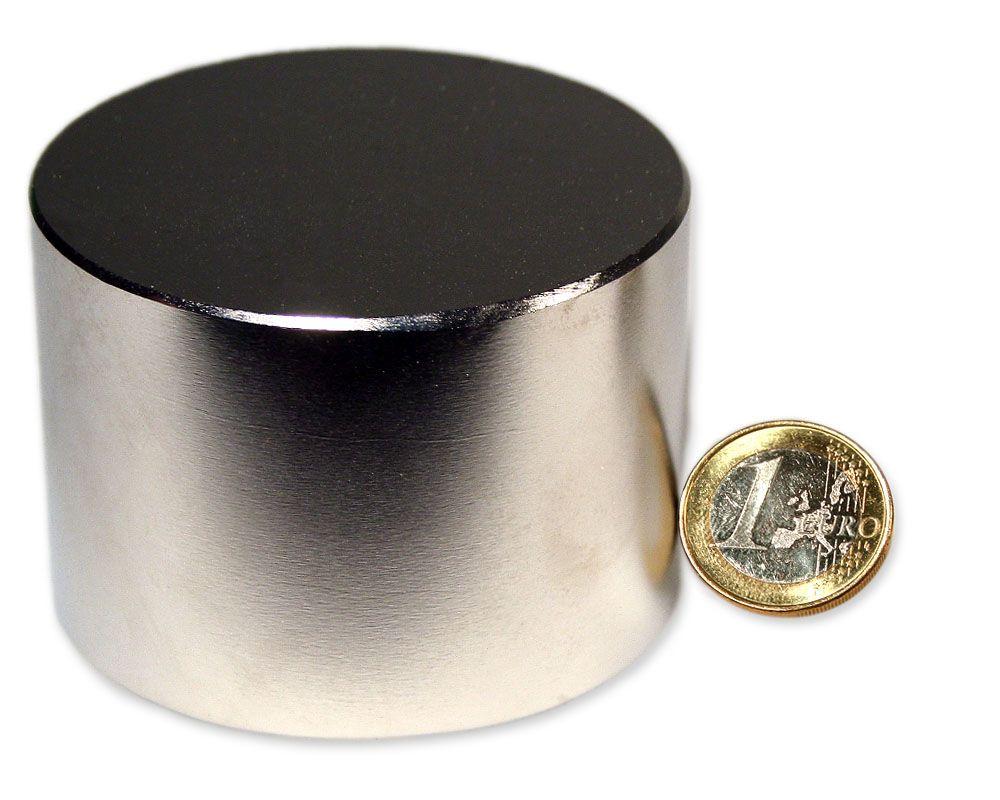 Scheibenmagnet Ø 70,0 x 50,0 mm Neodym N52 vernickelt - hält 500 kg