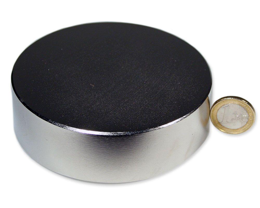Scheibenmagnet Ø 100,0 x 30,0 mm Neodym N52 vernickelt - hält 600 kg