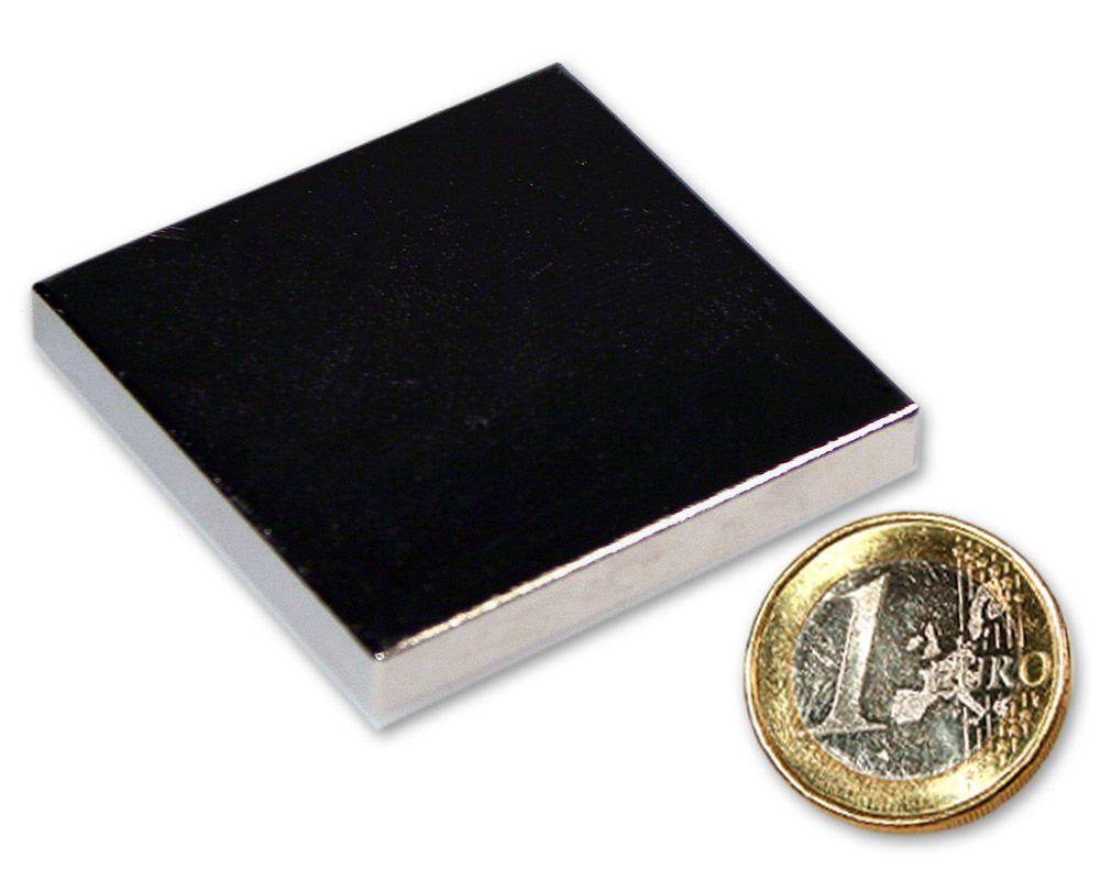 Quadermagnet 45,0 x 45,0 x 6,0 mm Neodym N45 vernickelt - hält 23,0 kg