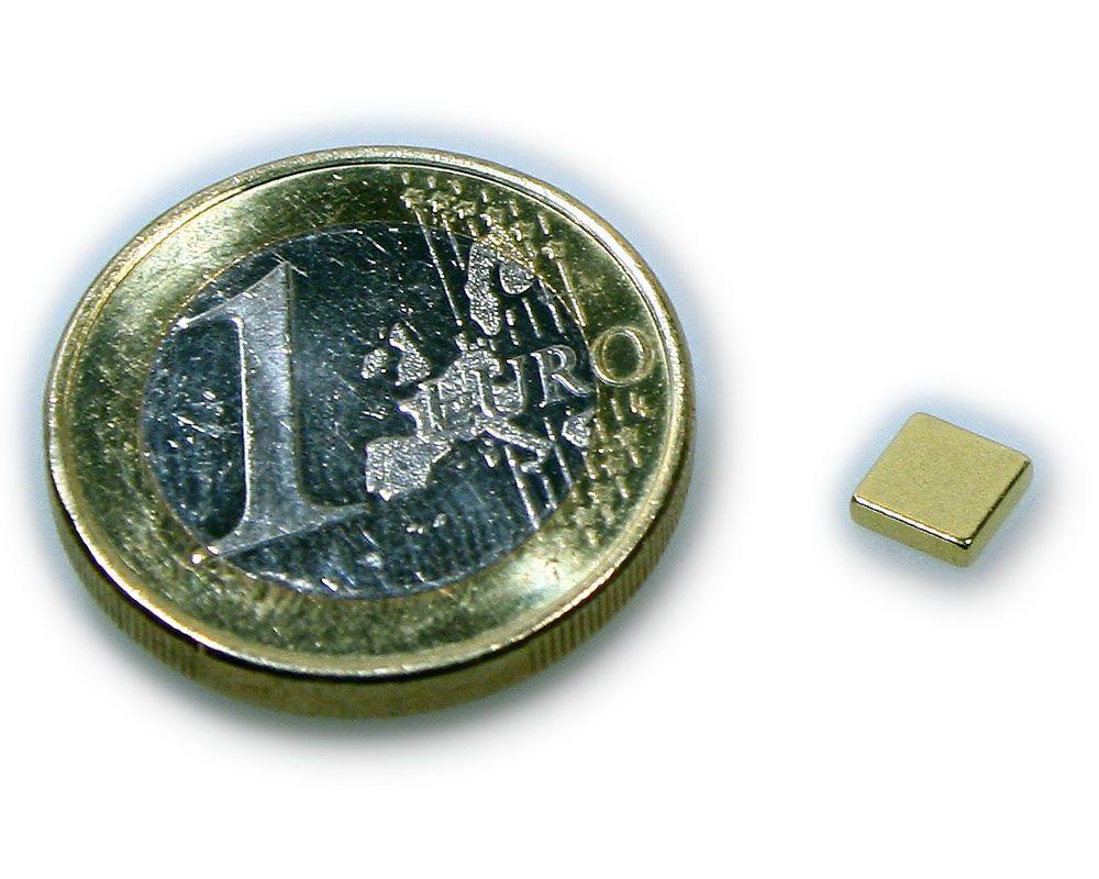 Quadermagnet 5,0 x 5,0 x 1,2 mm Neodym N50 vergoldet - hält 400 g