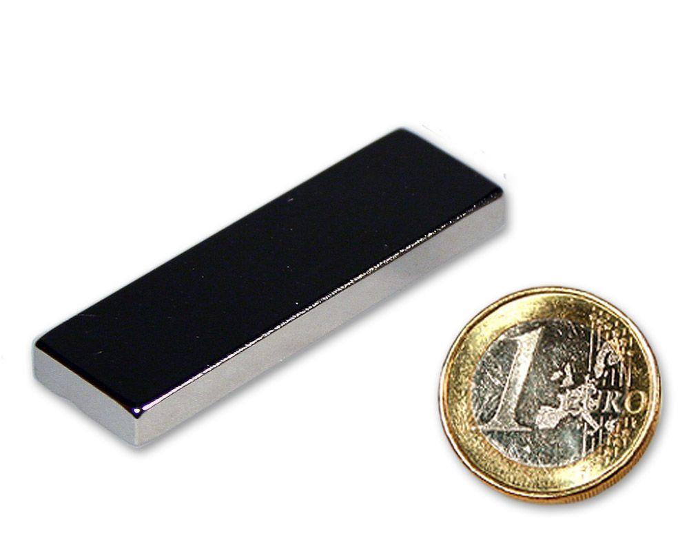 Quadermagnet 50,0 x 15,0 x 5,0 mm Neodym N45 vernickelt - hält 13,2 kg