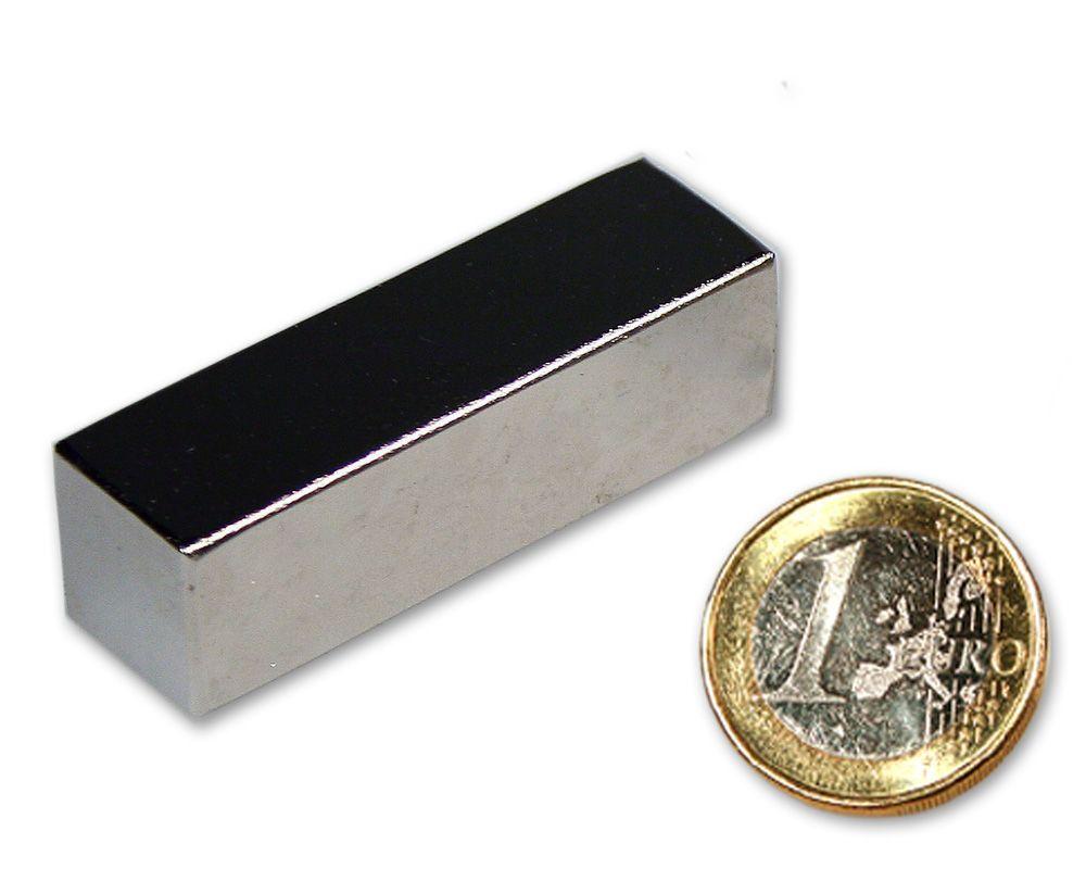 Quadermagnet 50,0 x 15,0 x 15,0 mm Neodym N52 vernickelt - hält 36 kg