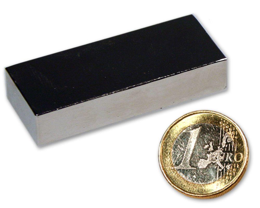 Quadermagnet 50,0 x 20,0 x 10,0 mm Neodym N52 vernickelt - hält 28 kg