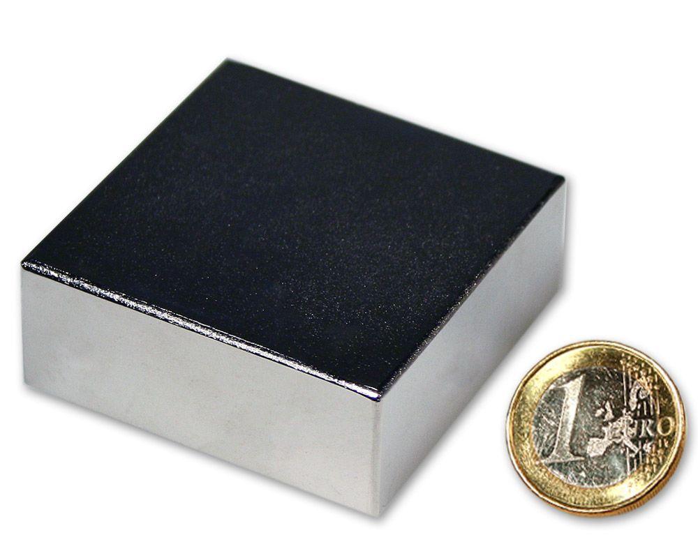 Quadermagnet 50,0 x 50,0 x 20,0 mm Neodym N52 vernickelt - hält 120 kg