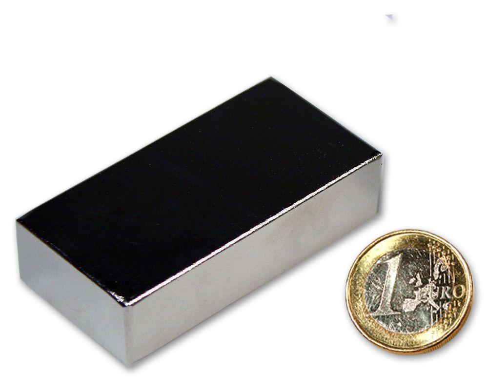 Quadermagnet 60,0 x 30,0 x 15,0 mm Neodym N52 vernickelt - hält 93 kg