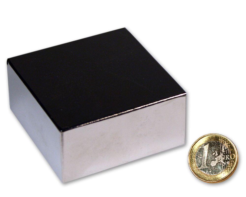 Quadermagnet 60,0 x 60,0 x 30,0 mm Neodym N52 vernickelt - hält 155 kg