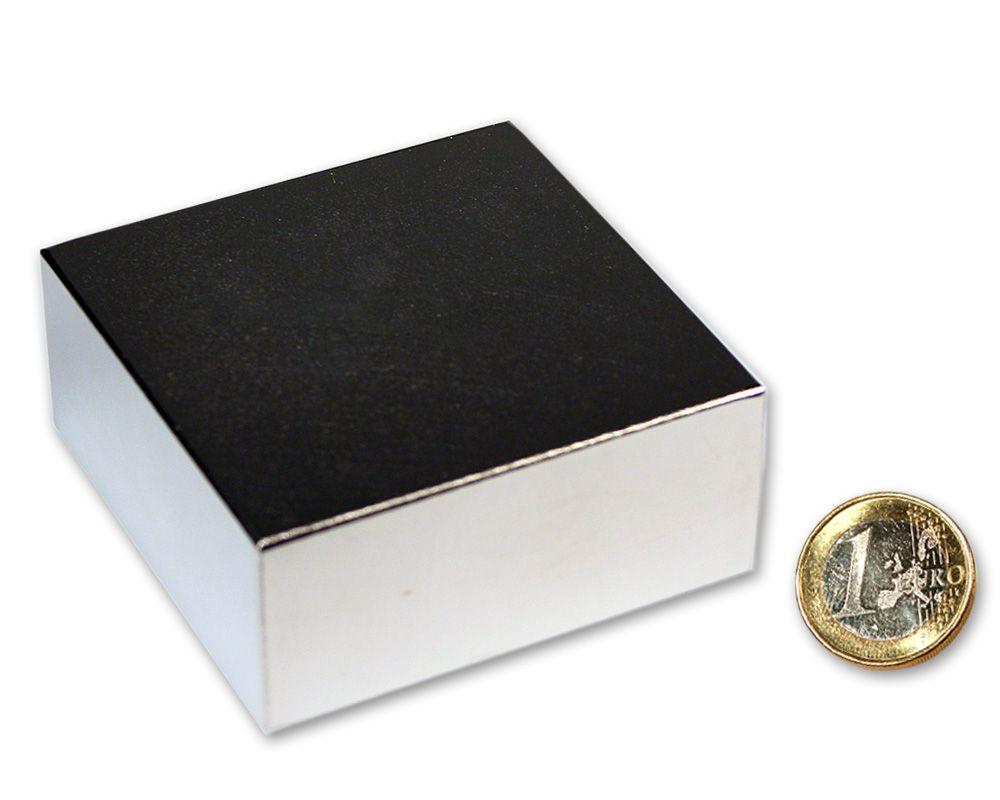 Quadermagnet 70,0 x 70,0 x 30,0 mm Neodym N52 vernickelt - hält 350 kg