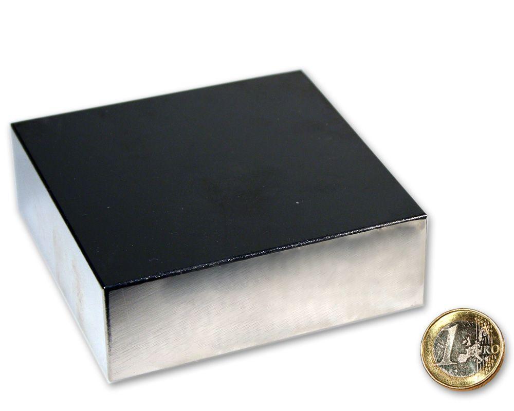 Quadermagnet 90,0 x 90,0 x 30,0 mm Neodym N52 vernickelt - hält 450 kg