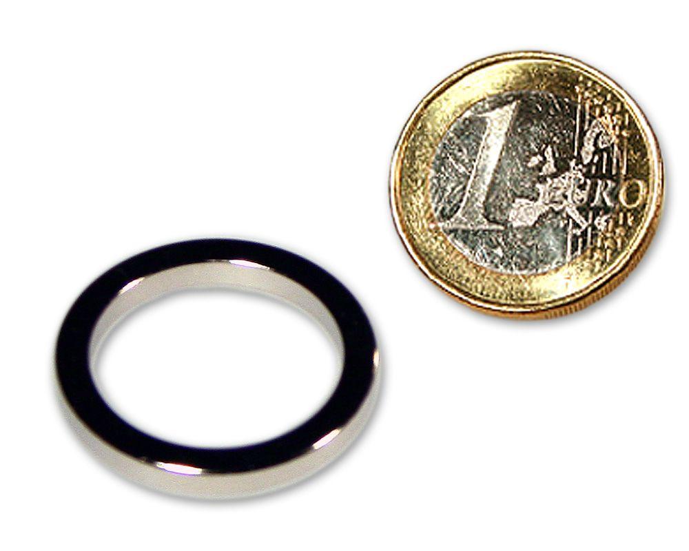 Ringmagnet Ø 27,0 x 21,0 x 3,0 mm Neodym N45 vernickelt - hält 2,2 kg