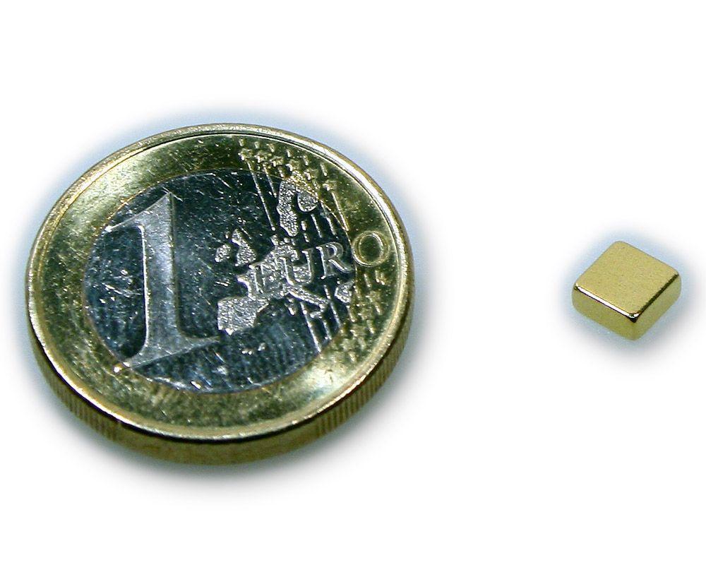 Quadermagnet 5,0 x 5,0 x 2,0 mm Neodym N50 vergoldet - hält 750 g