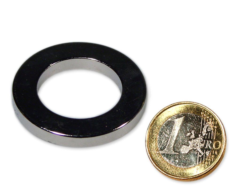 Ringmagnet Ø 40,0 x 25,0 x 5,0 mm Neodym N45 vernickelt - hält 9,0 kg