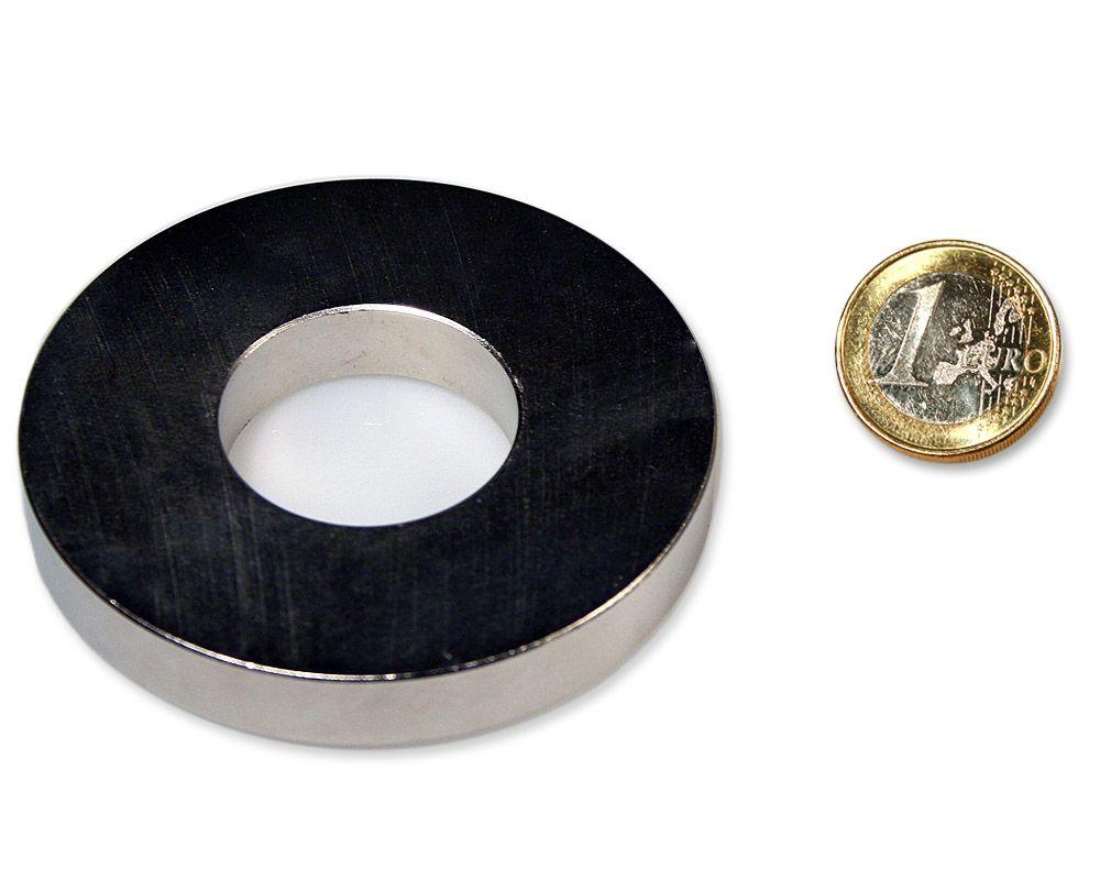 Ringmagnet Ø 70,0 x 30,0 x 10,0 mm Neodym N45 vernickelt - hält 48,0 kg