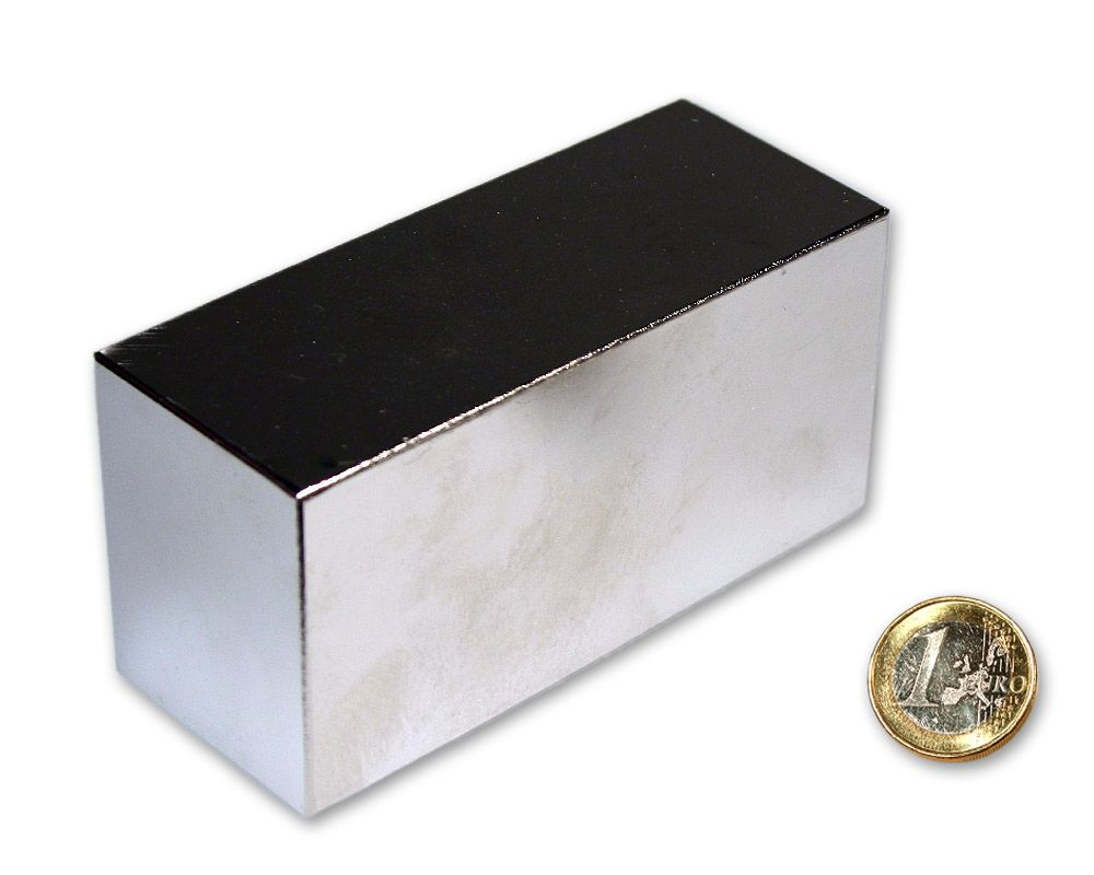 Quadermagnet 100,0 x 50,0 x 40,0 mm Neodym N52 vernickelt - hält 300 kg