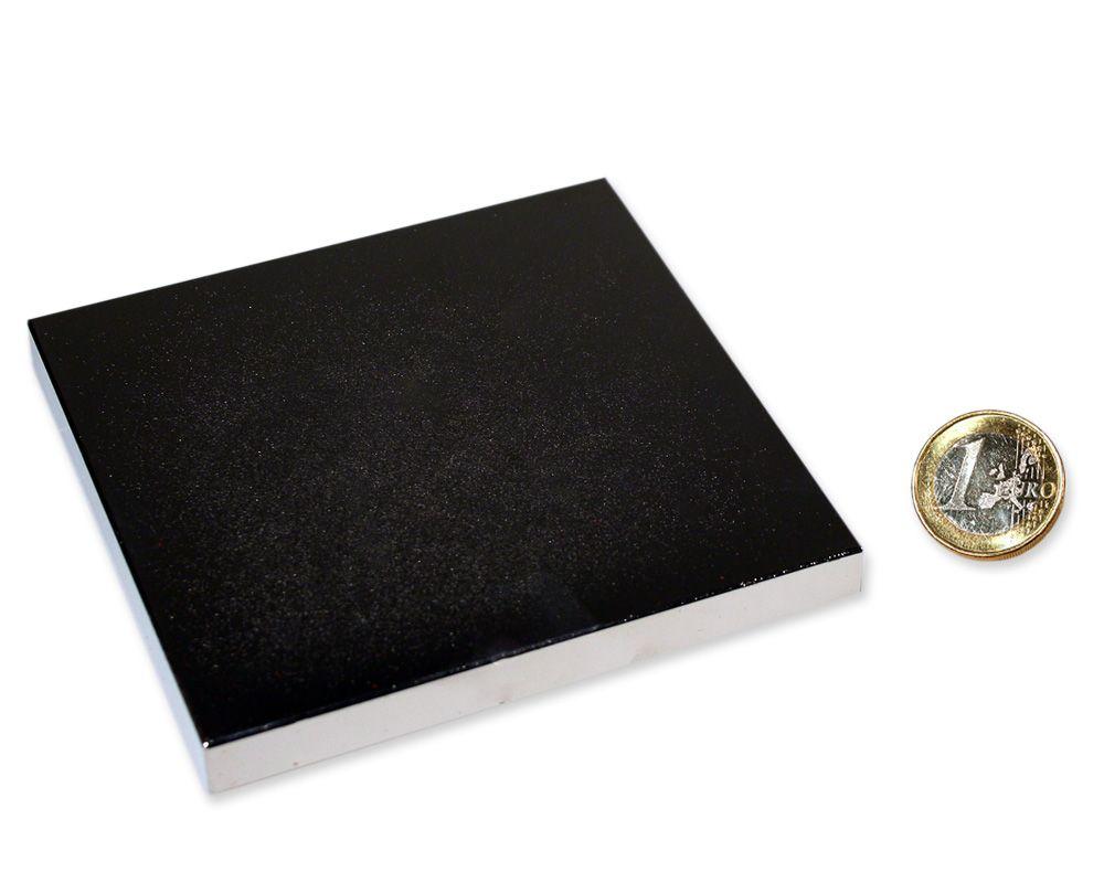 Quadermagnet 100,0 x 100,0 x 10,0 mm Neodym N52 vernickelt - hält 250 kg