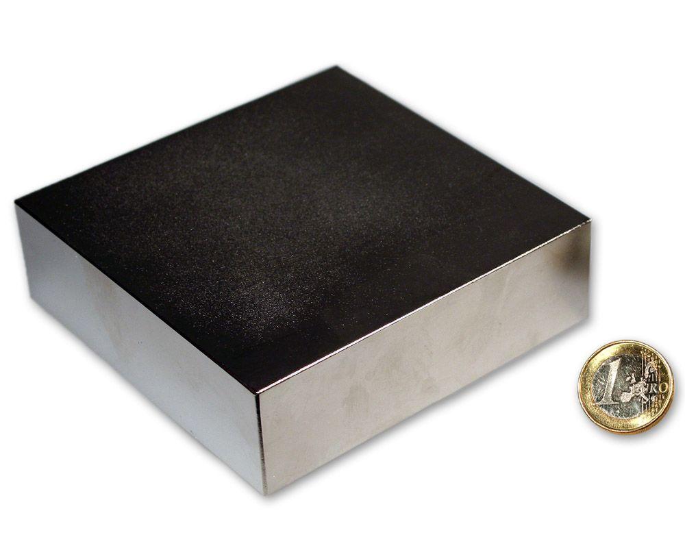 Quadermagnet 100,0 x 100,0 x 30,0 mm Neodym N52 vernickelt - hält 750 kg