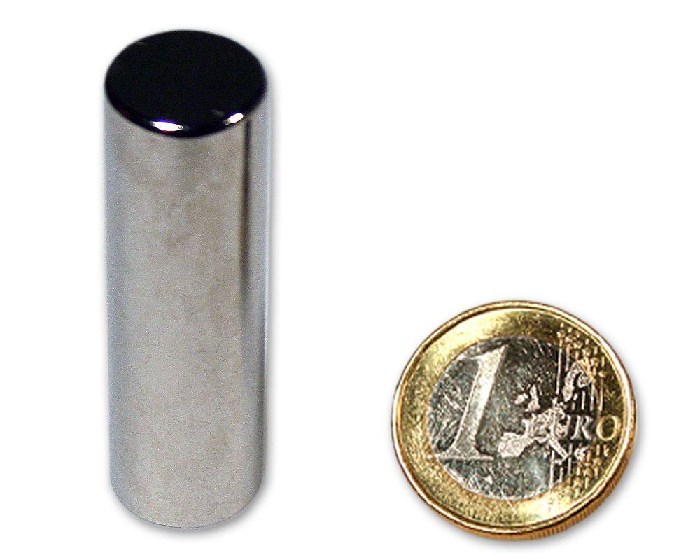 Stabmagnet Ø 15,0 x 50,0 mm Neodym N45 vernickelt - hält 15,0 kg