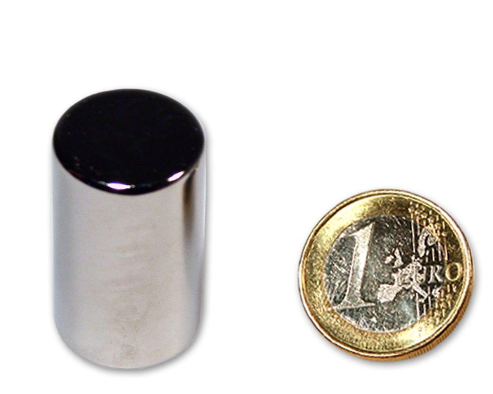 Stabmagnet Ø 20,0 x 34,0 mm Neodym N45 vernickelt - hält 20,0 kg