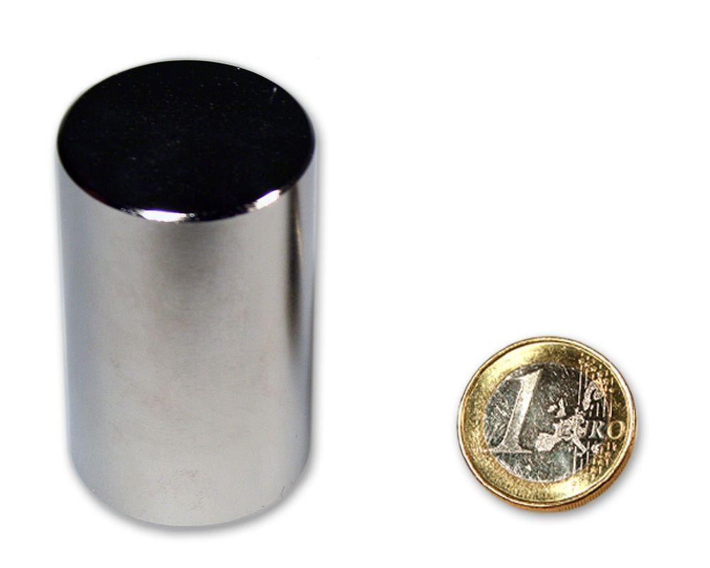 Stabmagnet Ø 30,0 x 50,0 mm Neodym N52 vernickelt - hält 68,0 kg