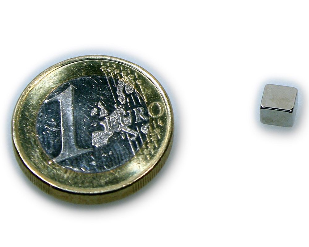 Quadermagnet 5,0 x 5,0 x 3,0 mm Neodym N45 vernickelt - hält 1,0 kg