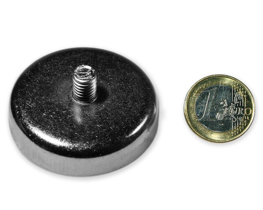 Neodym Flachgreifer mit Gewinde Ø 48,0 mm M8 hält 85 kg