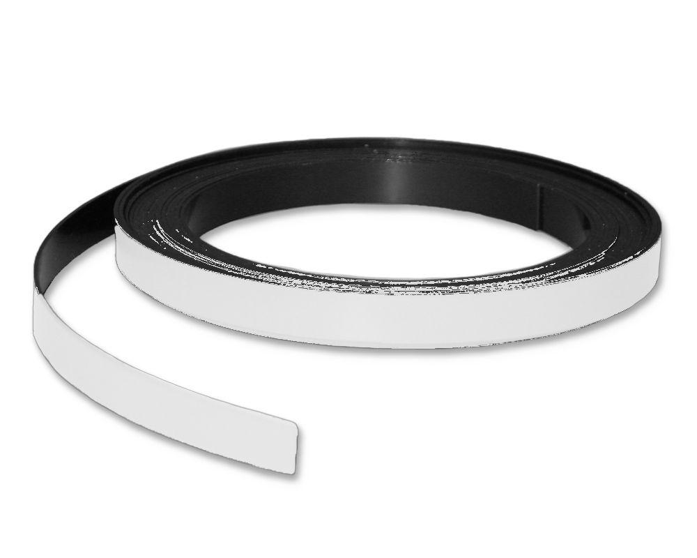 Kennzeichnungsband magnetisch, 10 mm Breite, Meterware, Weiss