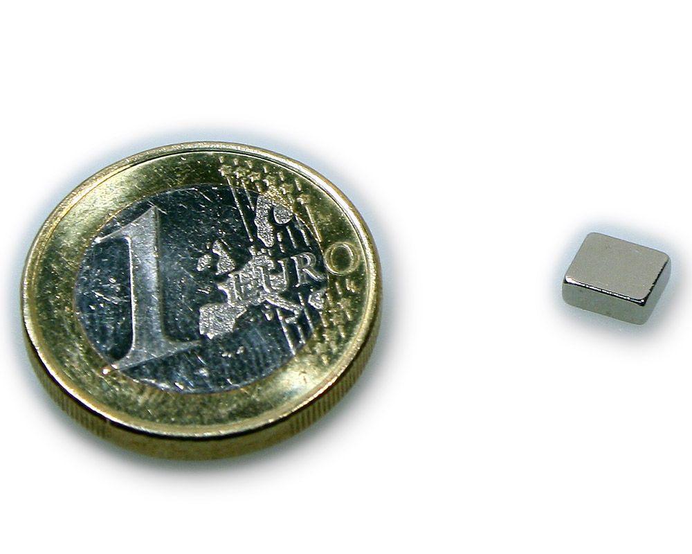 Quadermagnet 6,0 x 5,0 x 2,0 mm Neodym N48H vernickelt - hält 850 g