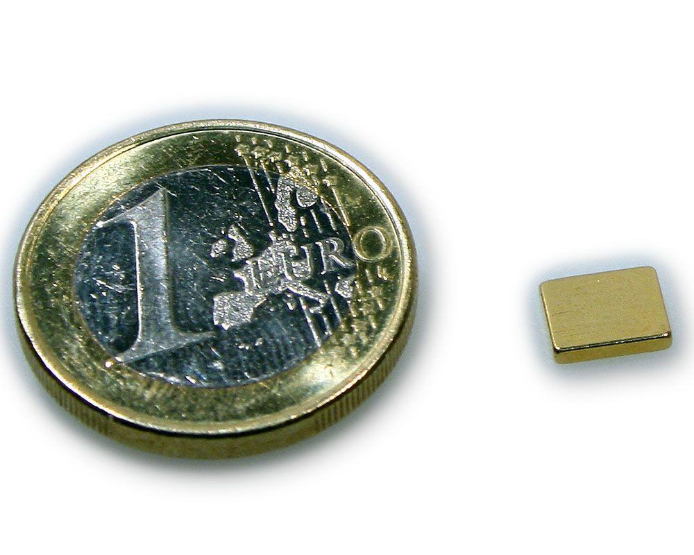 Quadermagnet 7,0 x 6,0 x 1,2 mm Neodym N50 vergoldet - hält 650 g