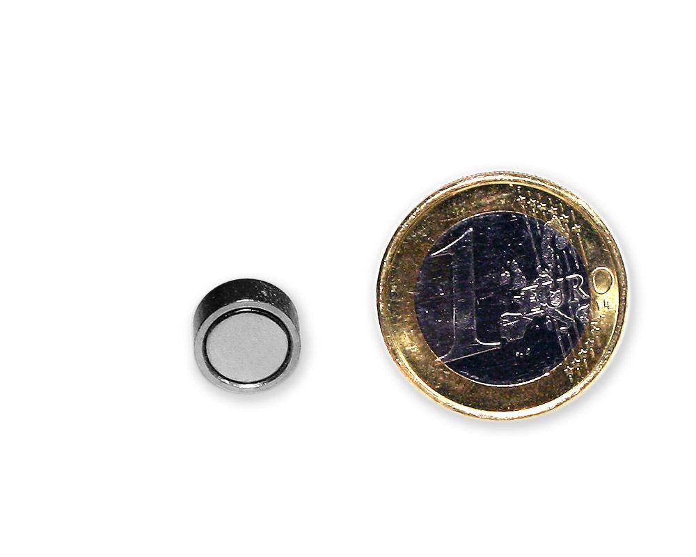 Neodym Flachgreifer Ø 10,0 x 4,5 mm, verzinkt - hält 2,5 kg