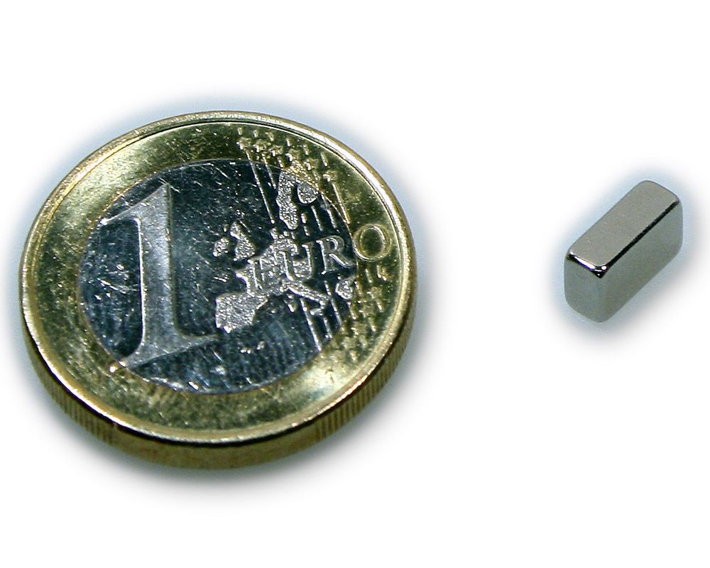 Quadermagnet 8,0 x 4,0 x 3,0 mm Neodym N45 vernickelt - hält 1,0 kg