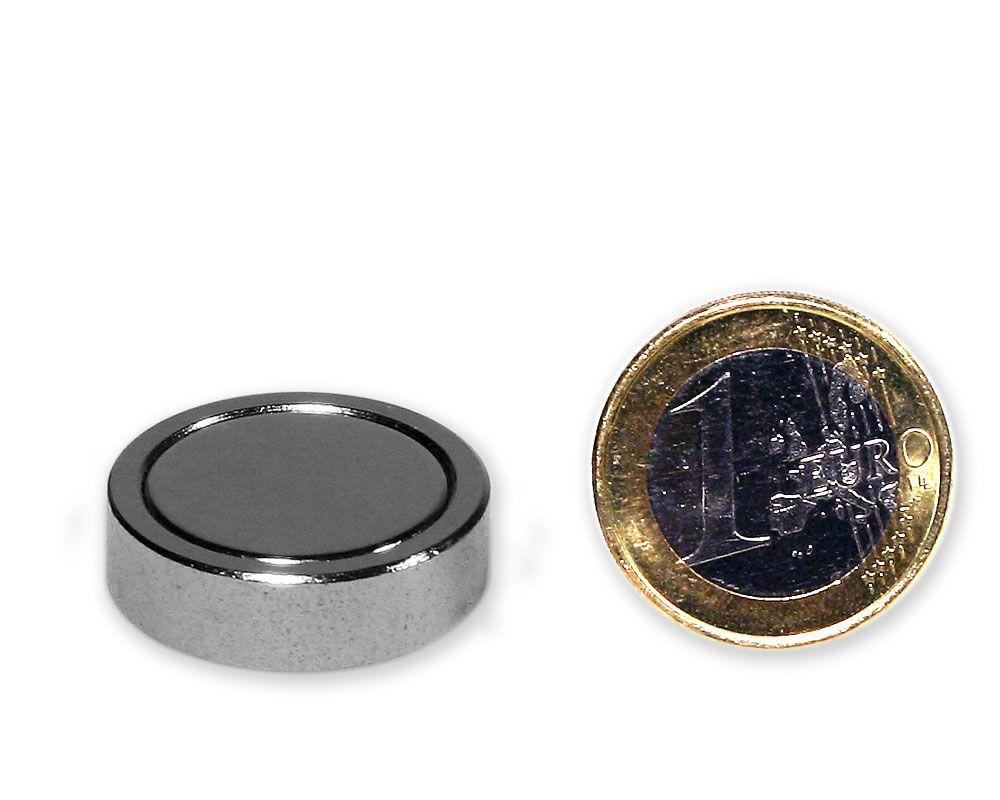 Neodym Flachgreifer Ø 25,0 x 7,0 mm, verzinkt - hält 20 kg