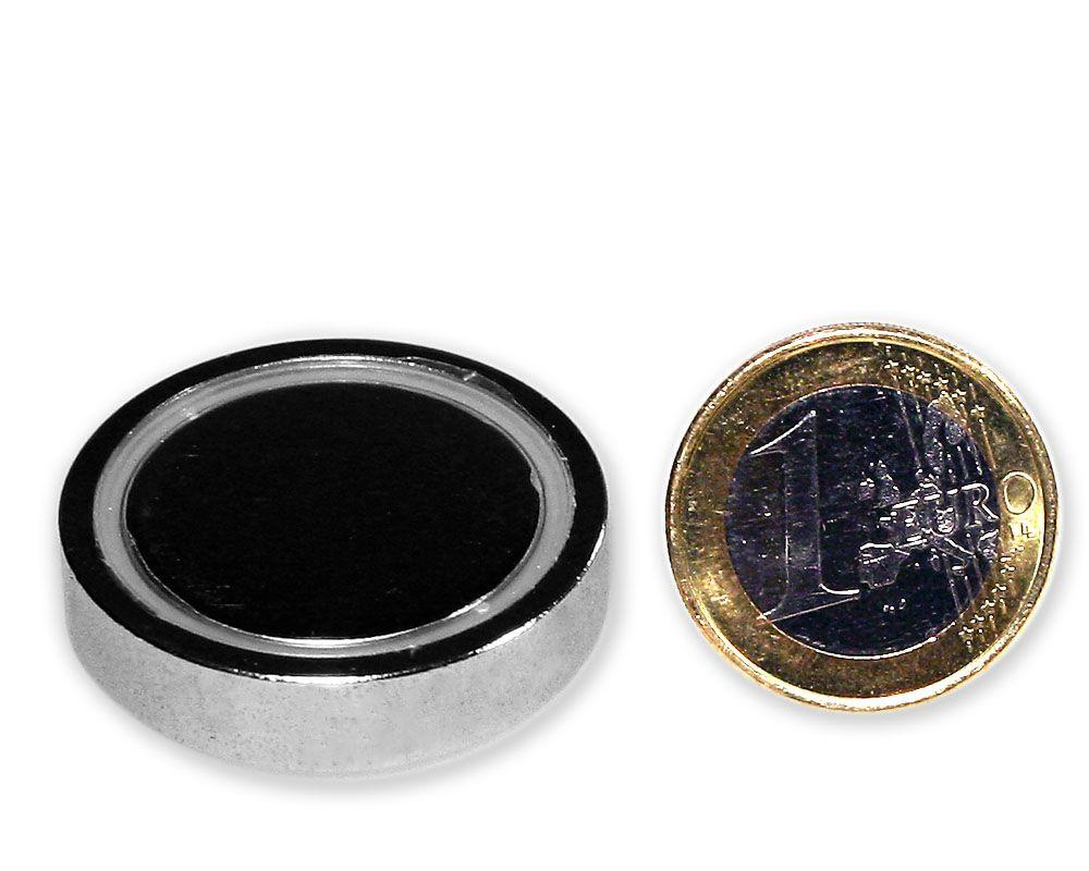 Neodym Flachgreifer Ø 32,0 x 7,0 mm, verzinkt - hält 36 kg