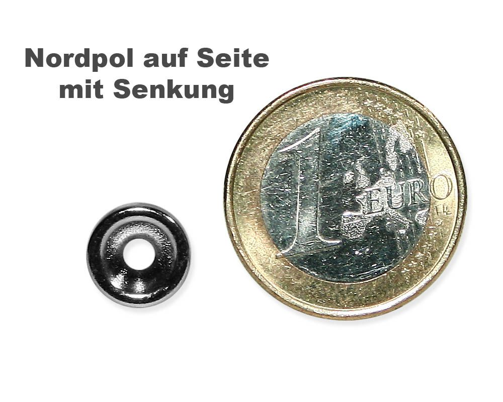 Scheibenmagnet Ø 10,0 mm x 3,0 mm Neodym N35 vernickelt - 3 mm Senkl. Nord