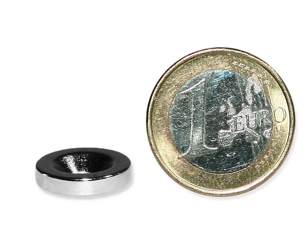 Nord Nickel Neodym N35 10 x Quadermagnet mit Senkbohrung 20 x 10 x 3mm