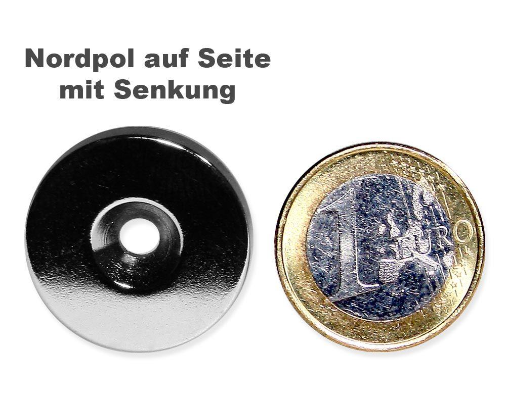 Scheibenmagnet Ø 25,0 mm x 4,0 mm Neodym N35 vernickelt - 4,5 mm Senkl. Nord