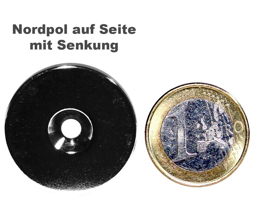 Scheibenmagnet Ø 30,0 mm x 4,0 mm Neodym N35 vernickelt - 4,5 mm Senkl. Nord