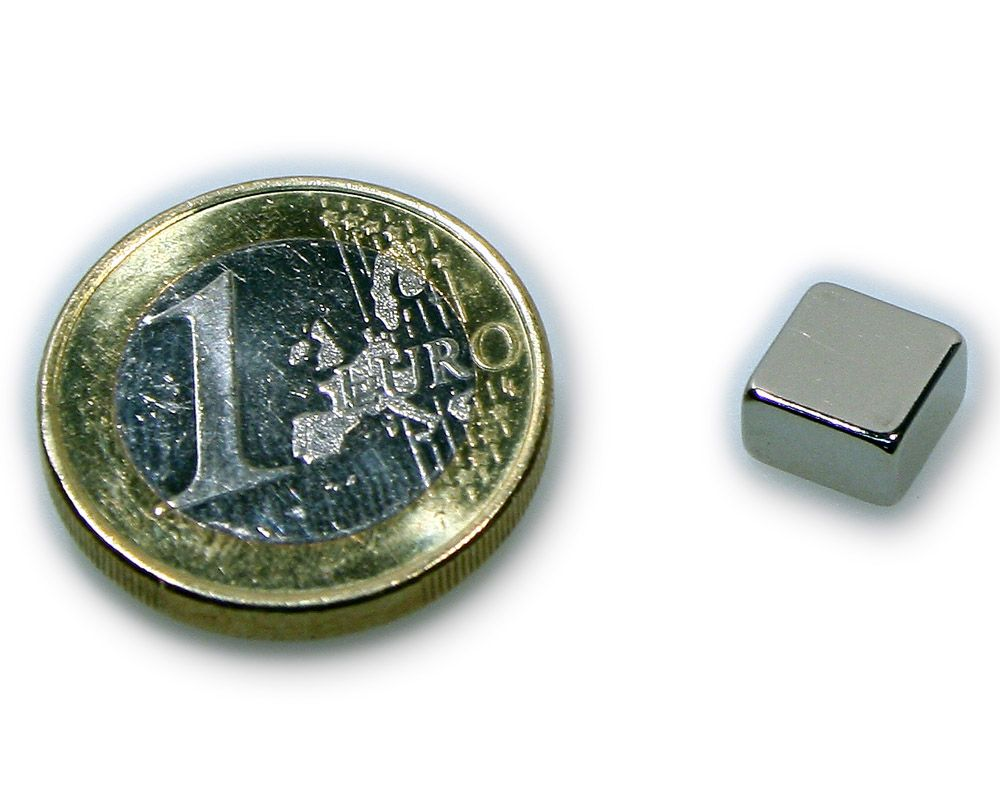 Quadermagnet 8,0 x 8,0 x 4,0 mm Neodym N45 vernickelt - hält 1,8 kg