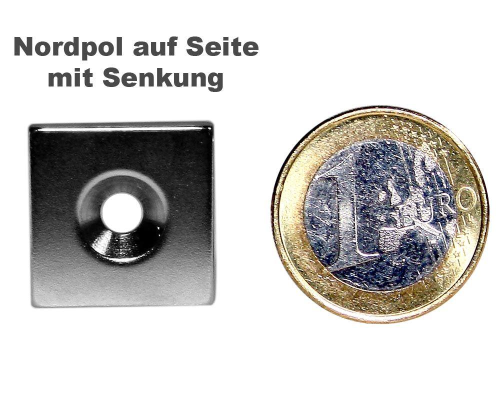 Quadermagnet 20,0 x 20,0 x 3,0 mm Neodym N35 vernickelt - 4,5 mm Senkloch Nord