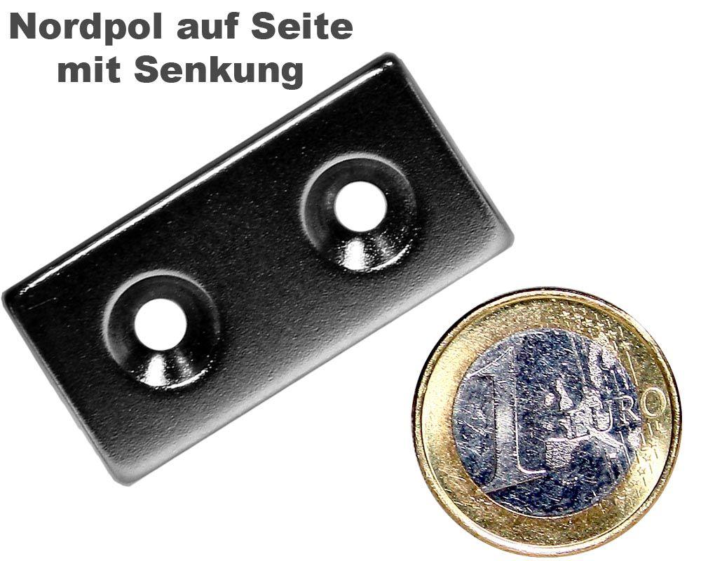 Quadermagnet 40,0 x 20,0 x 4,0 mm Neodym N35 vernickelt - 2 x 4,5 mm Senkl. Nord