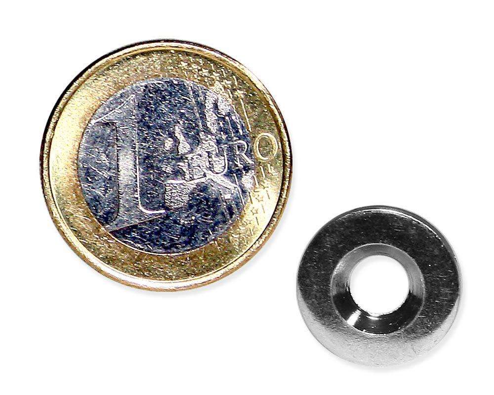Metallscheibe Ø 15 mm mit Bohrung und Senkung verzinkt