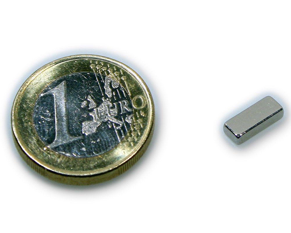 Quadermagnet 10,0 x 4,0 x 2,0 mm Neodym N45 vernickelt - hält 1,1 kg