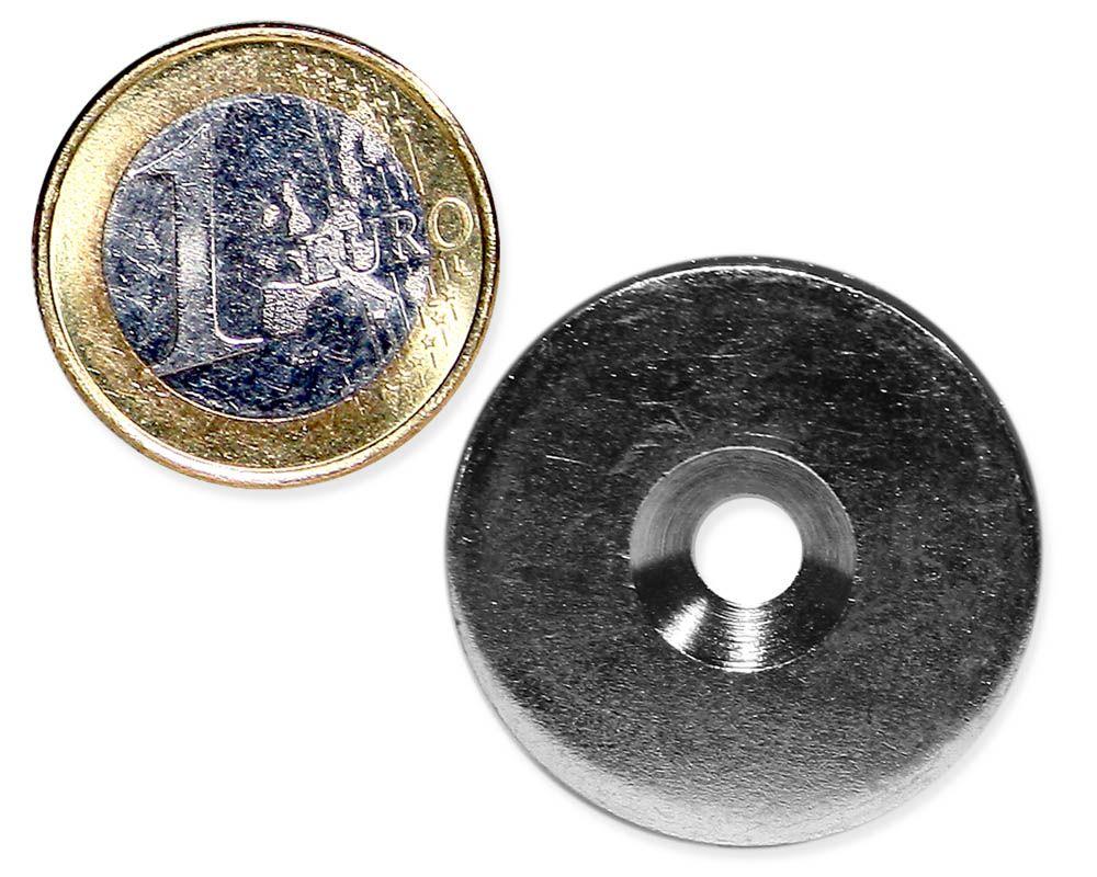 Metallscheibe Ø 30 mm mit Bohrung und Senkung verzinkt
