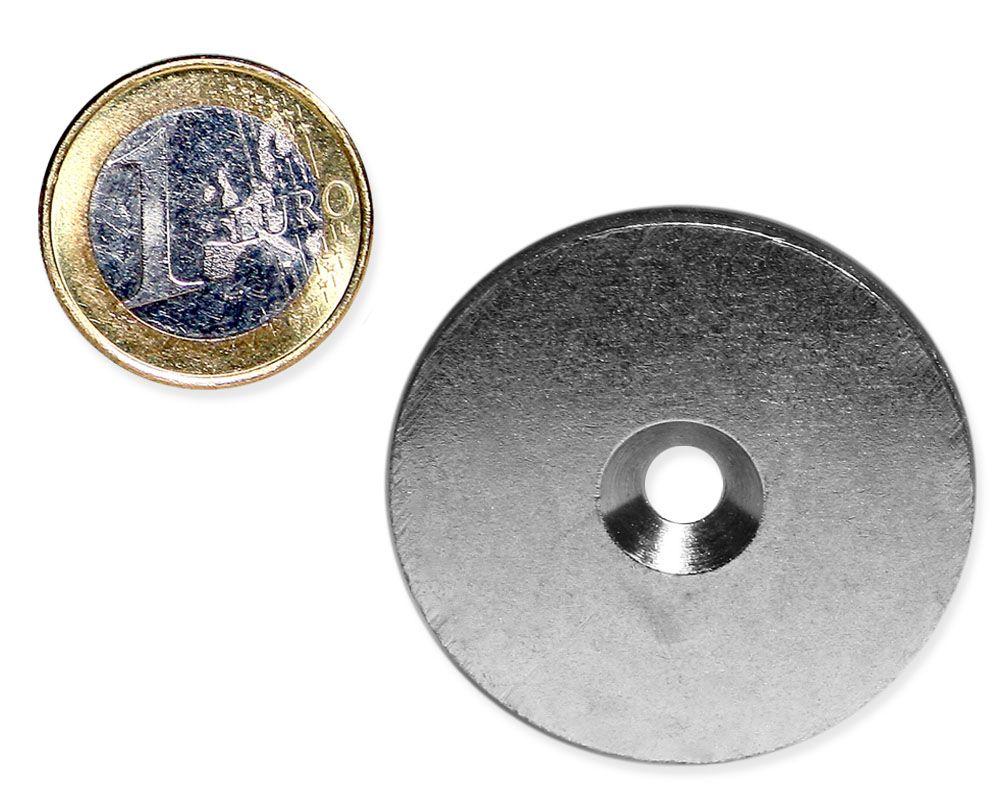 Metallscheibe Ø 40 mm mit Bohrung und Senkung verzinkt