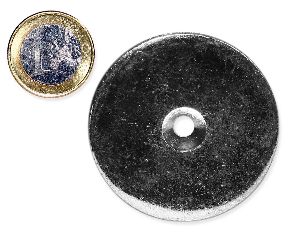 Metallscheibe Ø 50 mm mit Bohrung und Senkung verzinkt