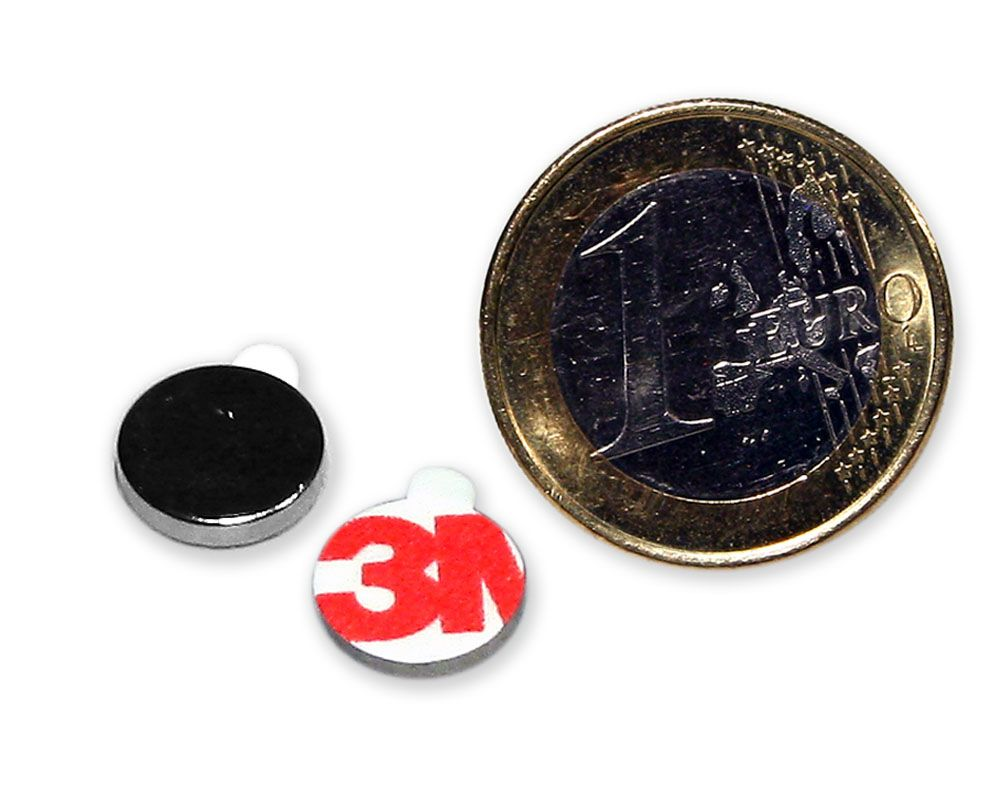 Scheibenmagnet selbstklebend Ø 10,0 x 2,0 mm Neodym N35 - hält 1,3 kg