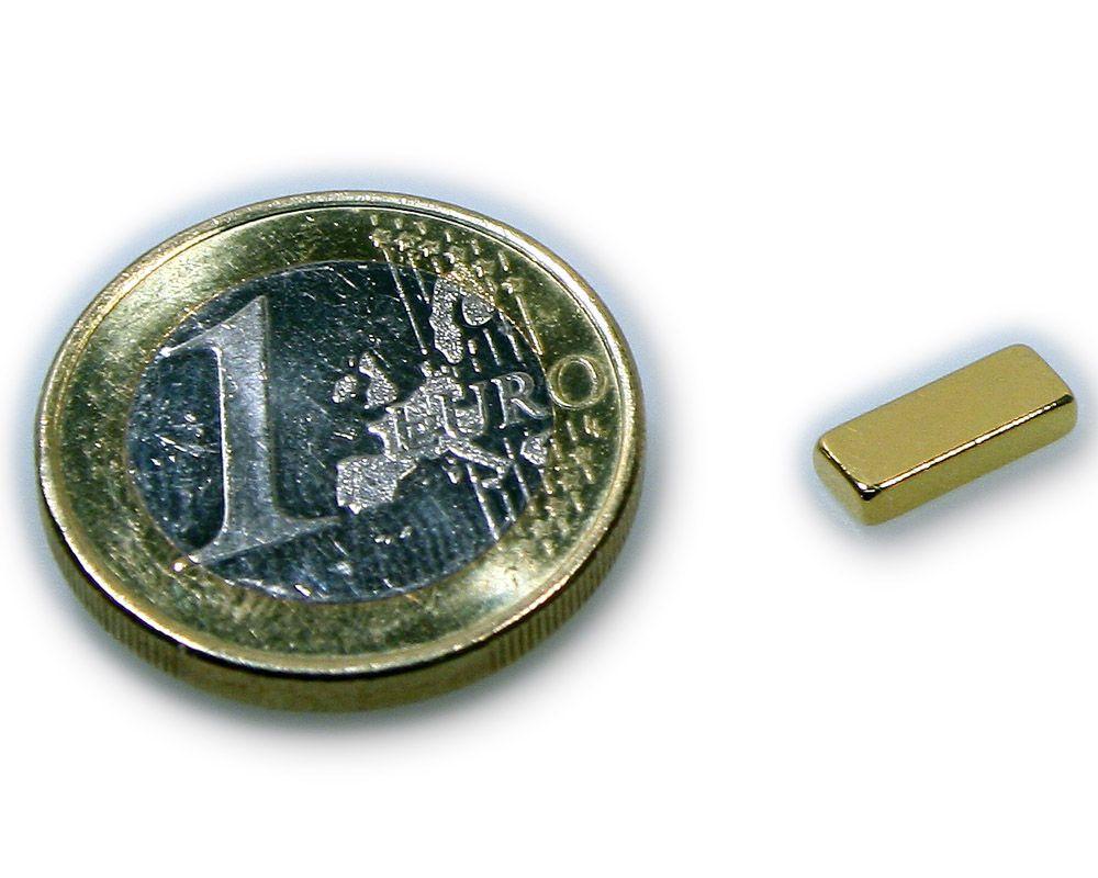 Quadermagnet 10,0 x 4,0 x 2,0 mm Neodym N45 vergoldet - hält 1,1 kg