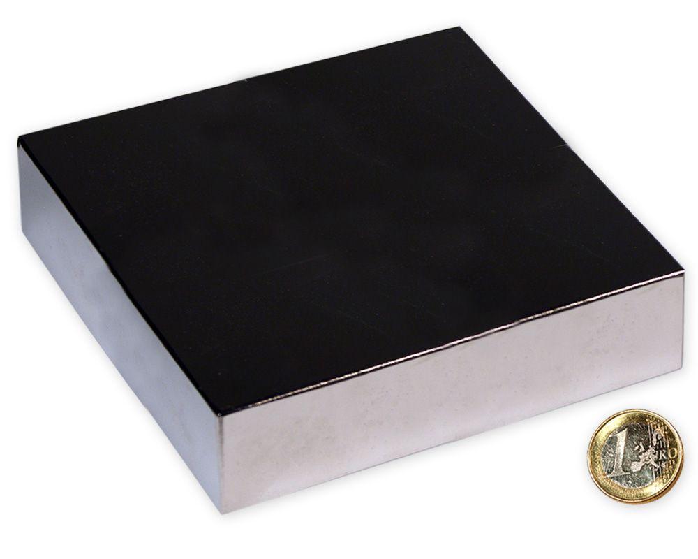 Quadermagnet 120,0 x 120,0 x 30,0 mm Neodym N52 vernickelt - hält 1.100 kg