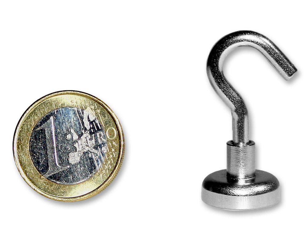 Hakenmagnet Ø 16 mm mit Neodym - verzinkt - hält 8,0 kg